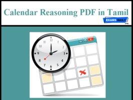 reasoning calendar question in english tamil pdf